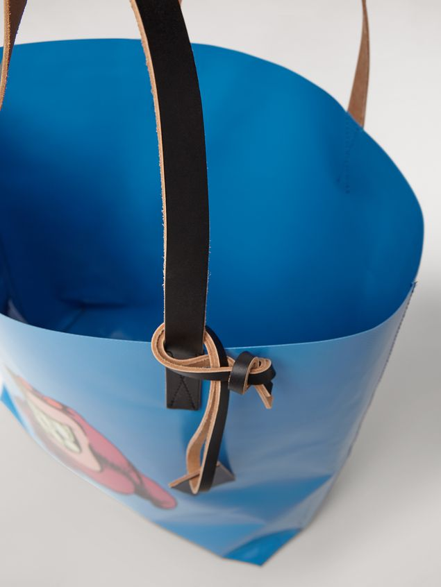 Marni Shopping bag in coated PVC print by artist Bruno Bozzetto pale blue Man - 5
