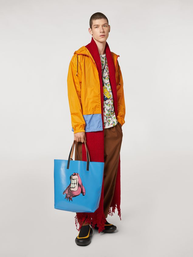 Marni Shopping bag in coated PVC print by artist Bruno Bozzetto pale blue Man - 2