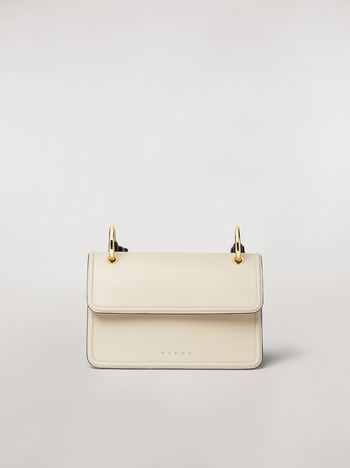 Marni NEW BEAT bag in white calfskin with Marni logo shoulder strap Woman f