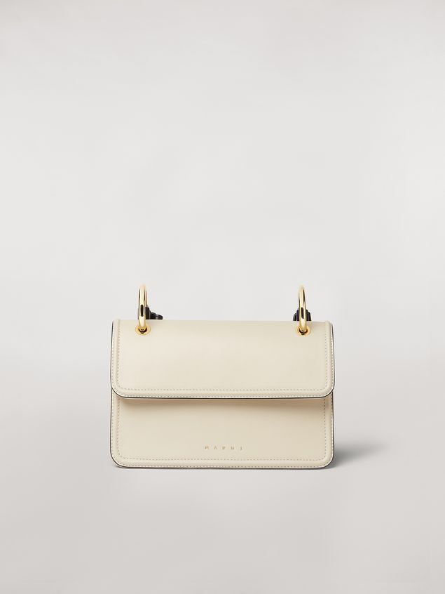 Marni NEW BEAT bag in white calfskin with Marni logo shoulder strap Woman - 1