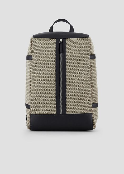 Raffia backpack with leather inserts