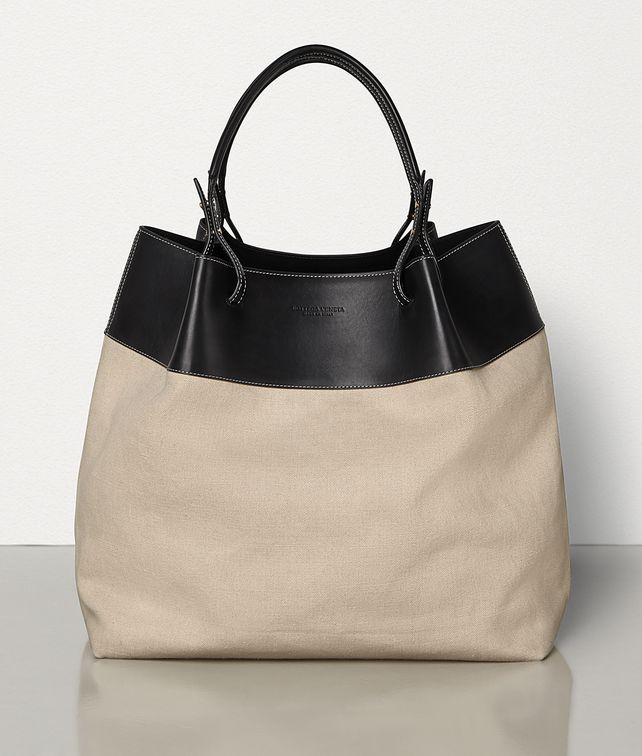 BOTTEGA VENETA QUAD TOTE IN IN LINEN AND FRENCH CALFSKIN Tote Bag Woman fp