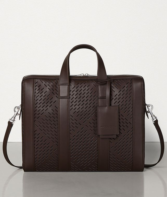 BOTTEGA VENETA BORSA BUSINESS IN VITELLO OPACO PERFORATO Borsa Business Uomo fp