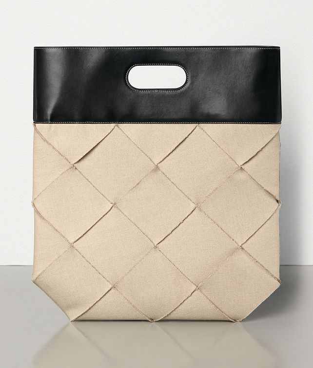 BOTTEGA VENETA MEDIUM SLIP TOTE IN INTRECCIO LINEN AND FRENCH CALF Top Handle Bag [*** pickupInStoreShipping_info ***] fp