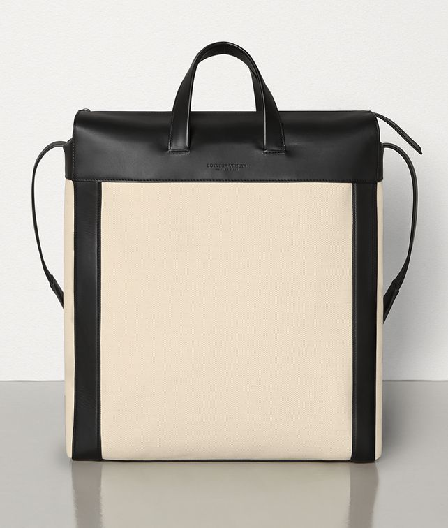 BOTTEGA VENETA MEDIUM TOTE IN CANVAS AND MATT CALFSKIN Tote Bag Man fp