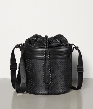 BUCKET MESSENGER BAG IN PERFORATED PAPER CALFSKIN