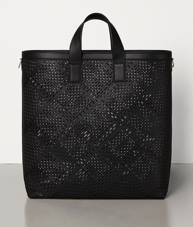 BOTTEGA VENETA LARGE TOTE IN PERFORATED MATT CALFSKIN Tote Bag Man fp