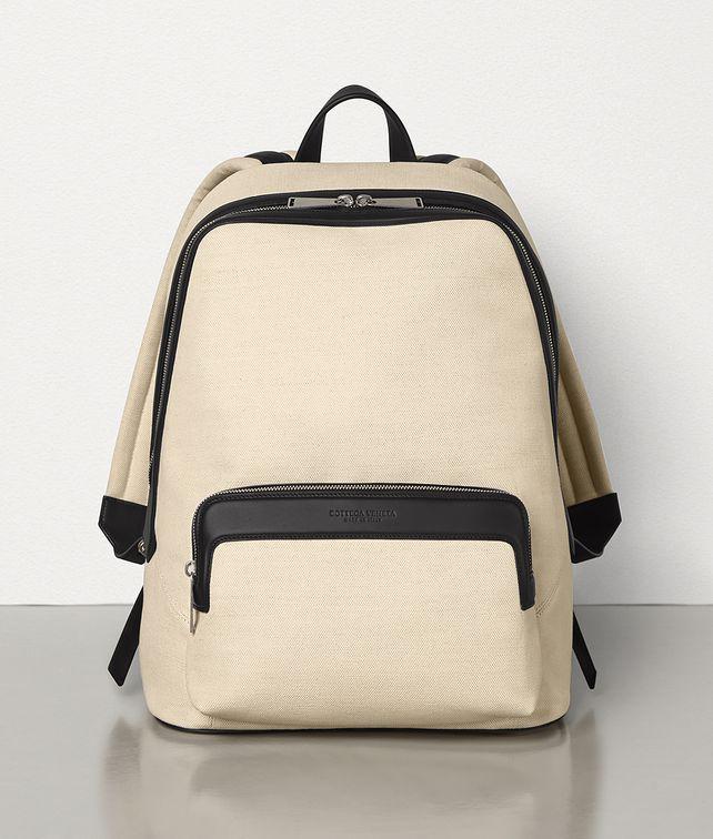 BOTTEGA VENETA MEDIUM BACKPACK IN CANVAS AND MATT CALFSKIN Backpack Man fp