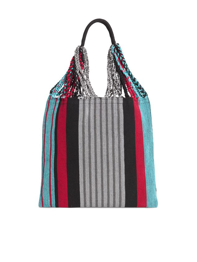 Marni MARNI MARKET shopping bag in gray, turquoise and red polyester with hammock-like handle  Man