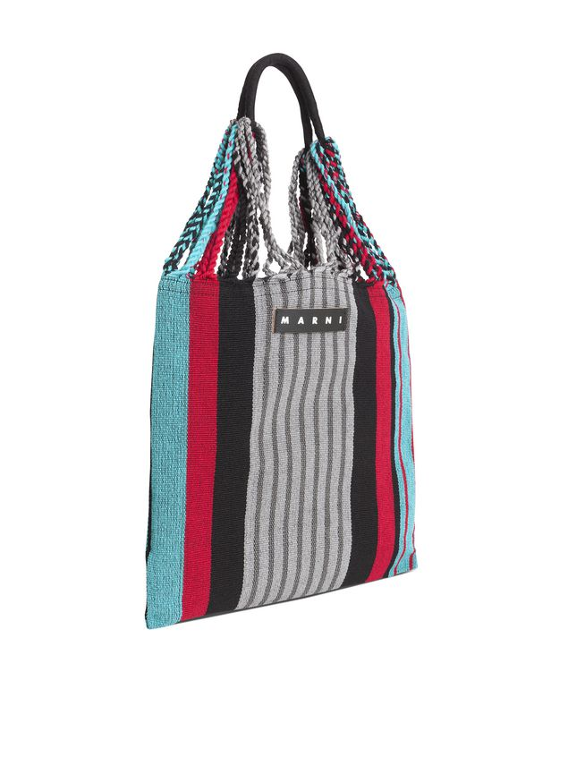 Marni MARNI MARKET shopping bag in gray, turquoise and red polyester with hammock-like handle  Man - 2