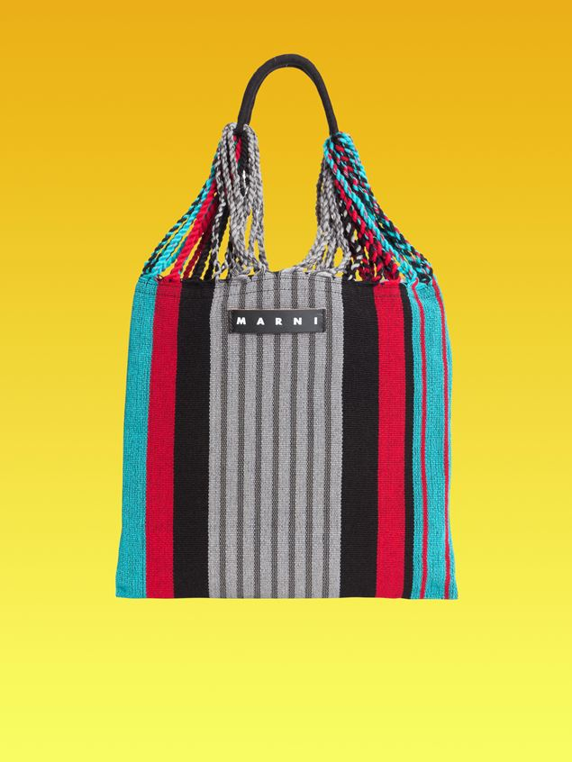 Marni MARNI MARKET shopping bag in gray, turquoise and red polyester with hammock-like handle  Man - 1