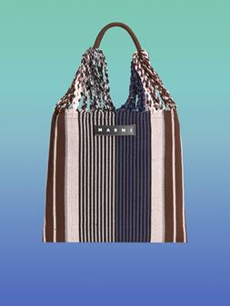 Marni MARNI MARKET shopping bag in blue, pink and brown polyester with hammock-like handle  Man