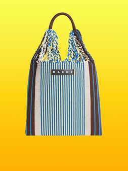 Marni MARNI MARKET shopping bag in blue, yellow, brown and beige polyester with hammock-like handle  Man