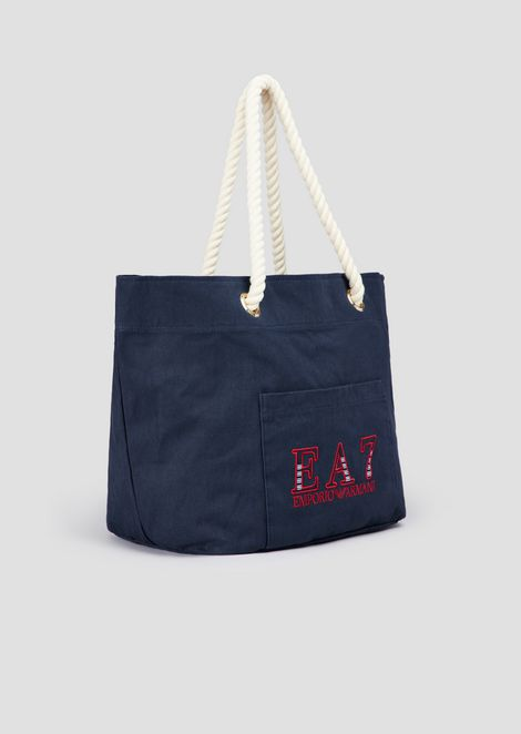 Shopper bag in canvas with knotted handles