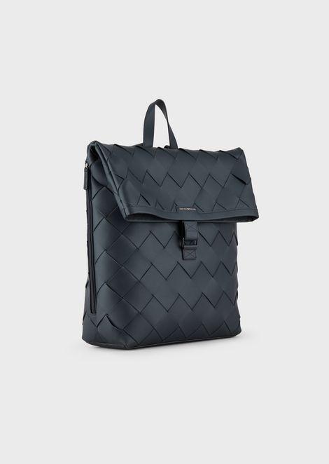 Rucksack aus Leder mit Maxi-Webmuster