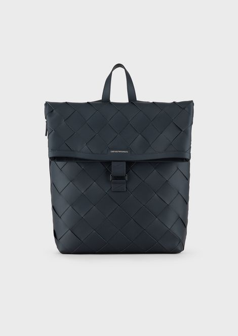 117356ea7d Leather backpack with maxi interweave