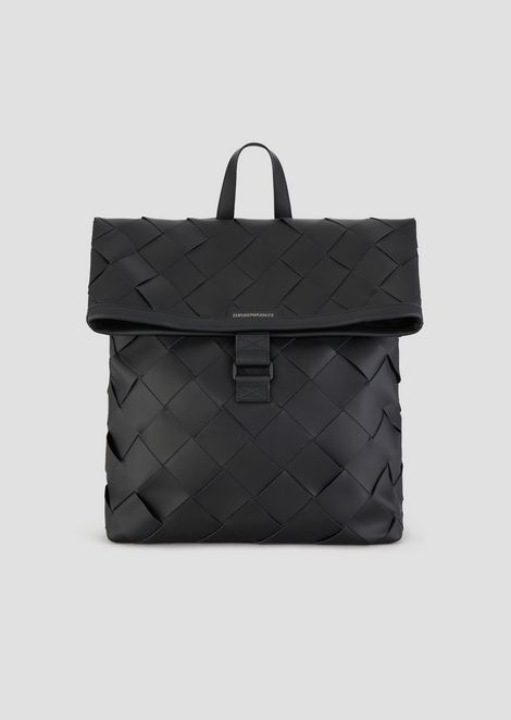 Leather backpack with maxi interweave