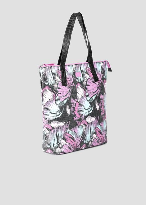 Shopper bag in fabric with tropical flower pattern