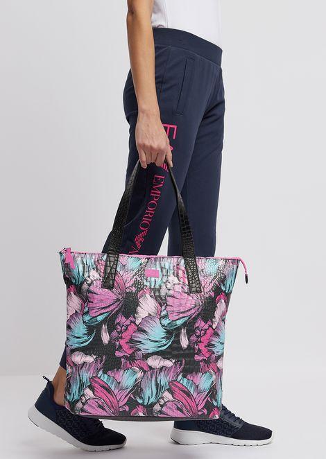 Сумка-шоппер из ткани стропическим цветочным узором