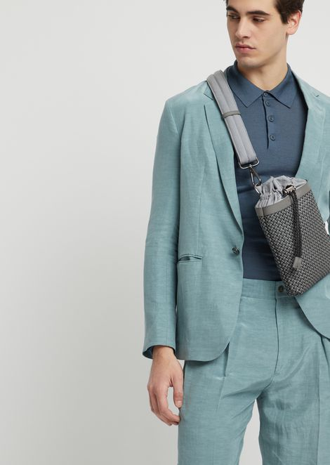 Single-shoulder backpack in smooth, interwoven leather with drawstring
