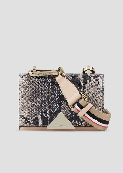 Leather mini-bag with python-print front and striped fabric strap