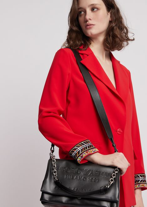 Leather shoulder bag with tone-on-tone embossed logo