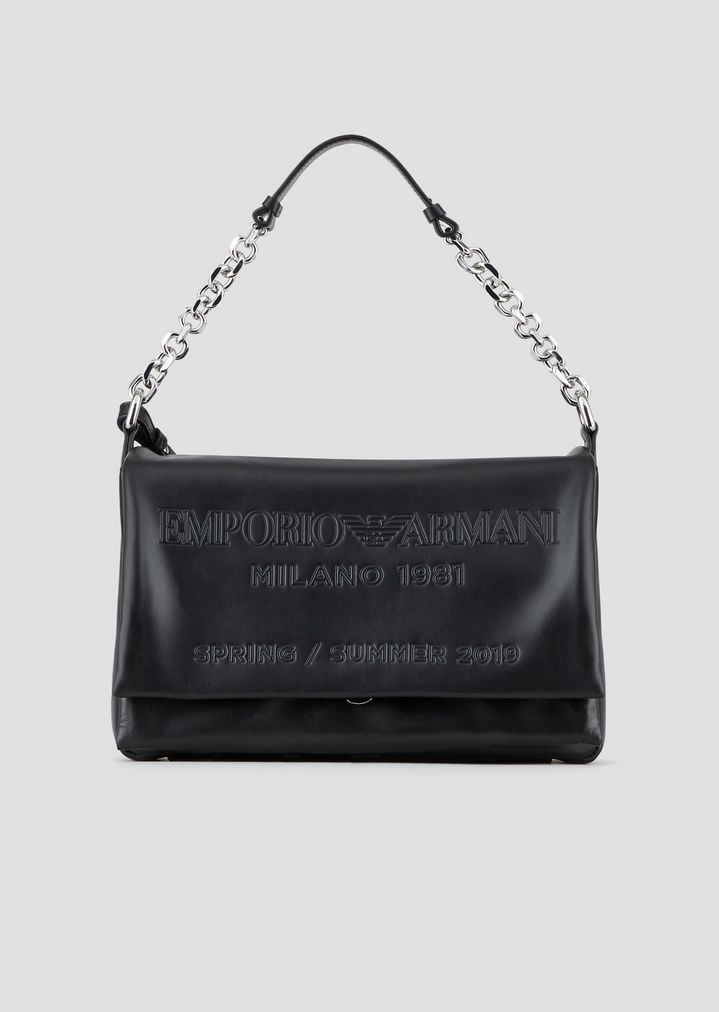 8491020b62a Leather shoulder bag with tone-on-tone embossed logo | Woman | Emporio  Armani