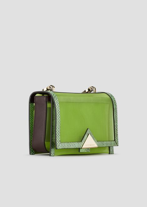 Bag in leather mesh with ayers snakeskin details and striped fabric strap