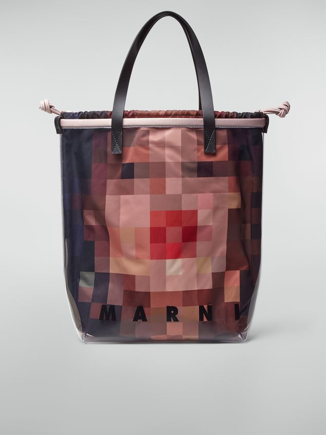 Marni Shopping bag in transparent PVC with pink interior bag in satin Pixel Grace print  Woman - 1