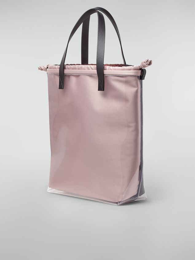 Marni Shopping bag in transparent PVC with pink interior bag in satin Pixel Grace print  Woman - 3