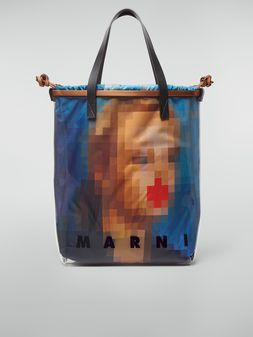 Marni Shopping bag in transparent PVC with blue interior bag in satin Pixel Grace print Woman