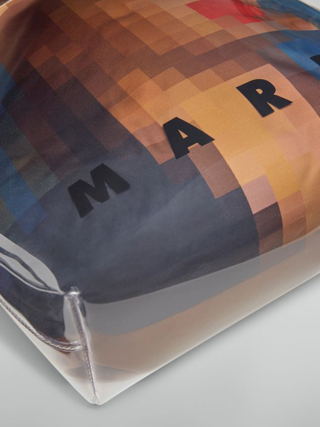 Marni Shopping bag in transparent PVC with blue interior bag in satin Pixel Grace print Woman - 5
