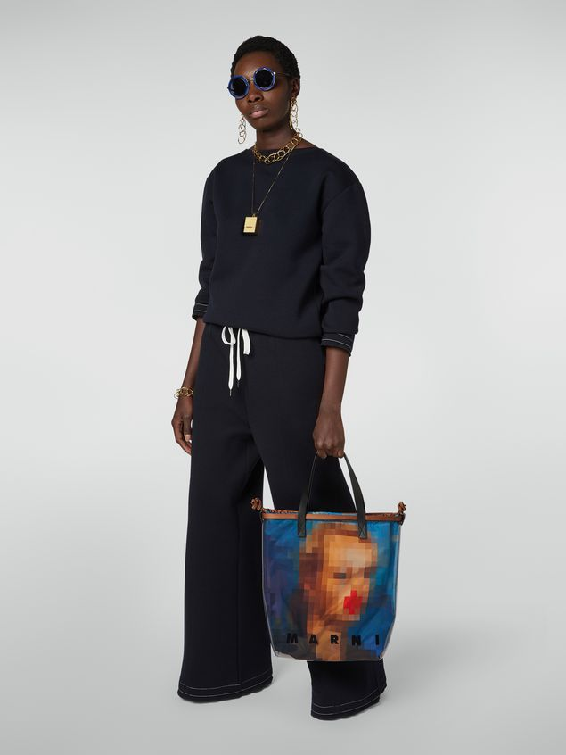 Marni Shopping bag in transparent PVC with blue interior bag in satin Pixel Grace print Woman - 2