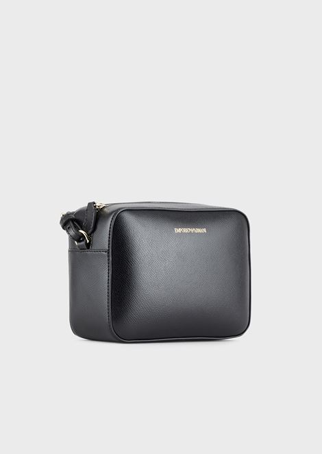 Mini shoulder bag in faux nappa leather
