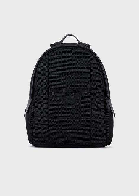Mesh backpack with embossed eagle