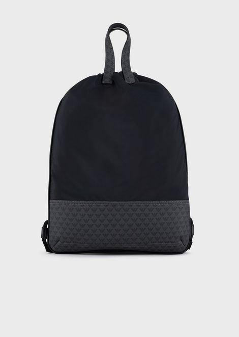 Nylon backpack with all-over logo details