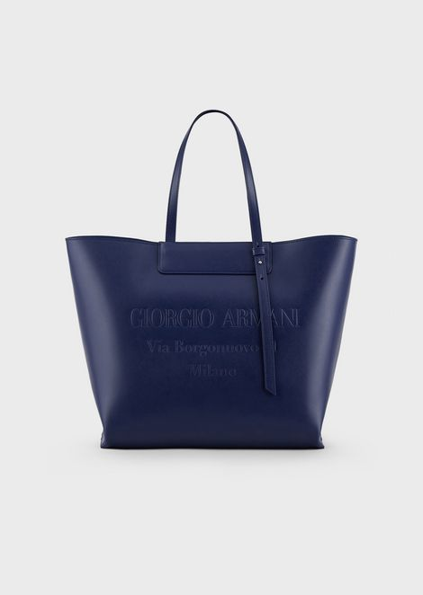 Small leather shopper bag with tone-on-tone embossed logo