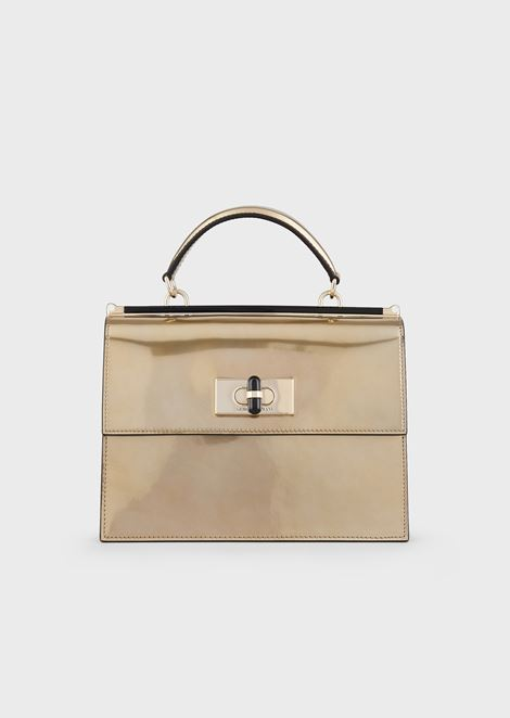 Borgonuovo 11 liquid-laminated leather handbag