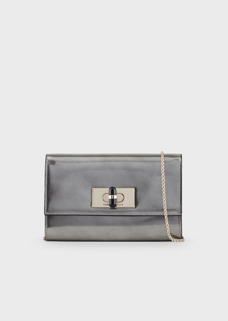Borgonuovo 11 metallised patent leather mini crossbody bag