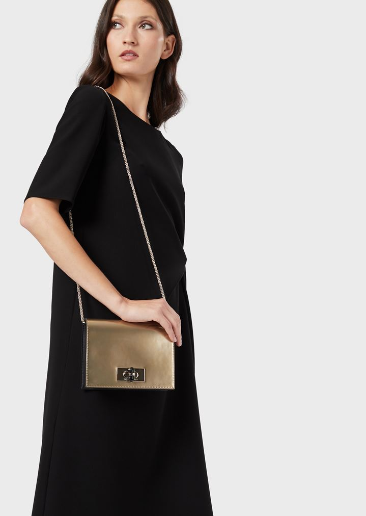 3c28400901 Borgonuovo 11 metallised patent leather mini crossbody bag