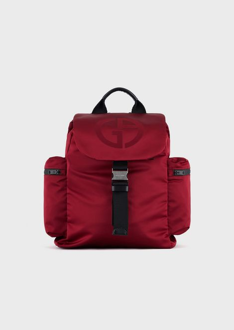 Backpack with embossed logo and side pockets