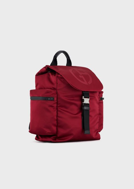 Backpack with embossed logo and zip pocket on the front