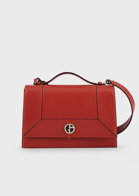 Smooth leather cross-body bag with enameled logo