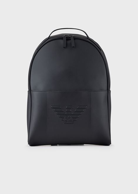 Backpack with front pocket and eagle logo