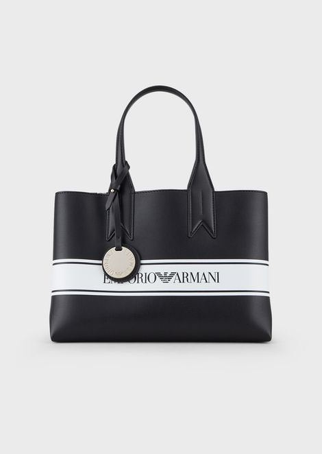 Shopper in faux nappa leather with logo band