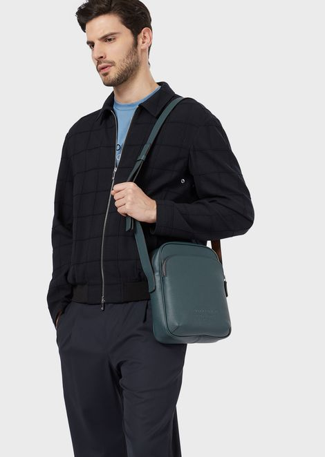 Full-grain leather shoulder bag with external pocket