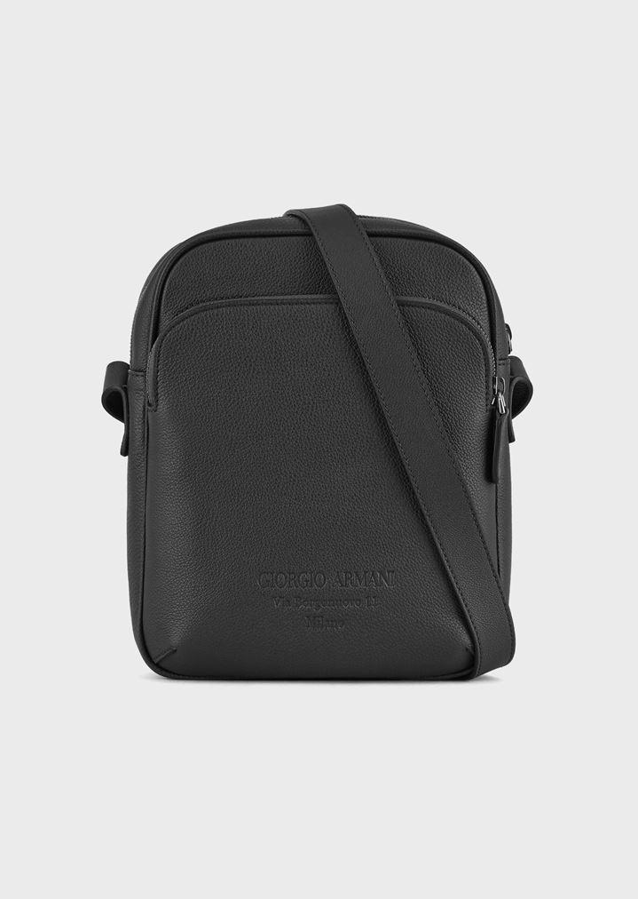 11e763a7b3f05 Grainy cross-body bag with external pocket | Man | Giorgio Armani