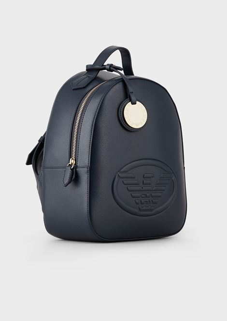 Leatherette backpack with logo and charm