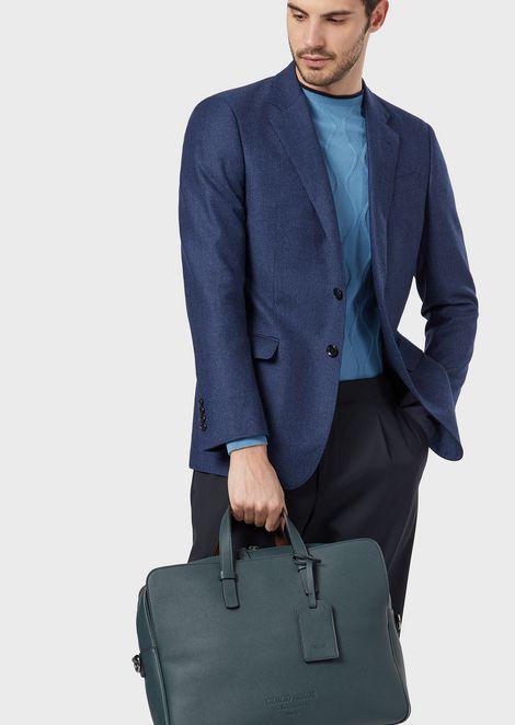 Vertical briefcase in full-grain calf-skin leather