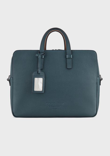 Vertical briefcase in full-grain calf-skin leather